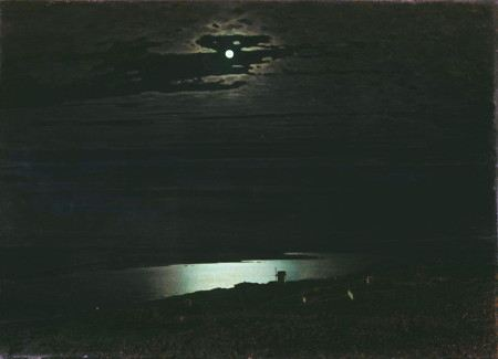 Paintnig of a very dark night with the moon behind a cloud, over a river