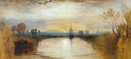 Painintg of a ship sailing down a waterway as the sun rises