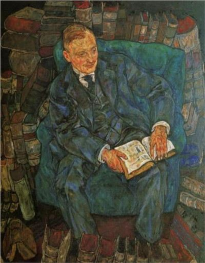 Painting of a man sitting in a chair reading a book with books stacked around him