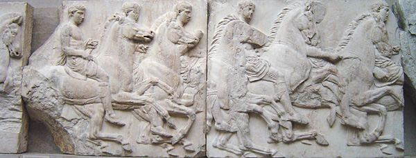 Marble frieze of men on horseback from the Classical Greek period