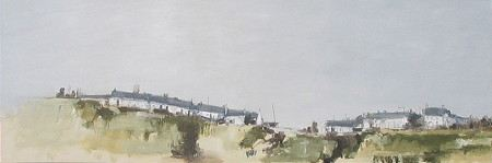 Painting of  houses on a sandy hill top