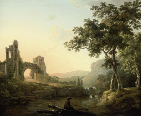 Painting of a landscaape with river and trees and mountains and an archway