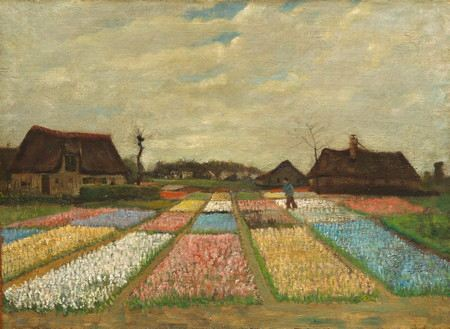 Painitng of a field of diffent color flowers