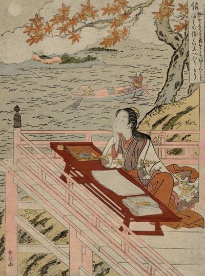 Japanese woodblock of a woman seated at a table writing