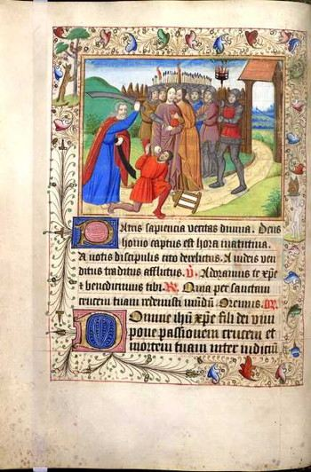 Page from an illuminated manuscript with a picture of a medieval man being arrested