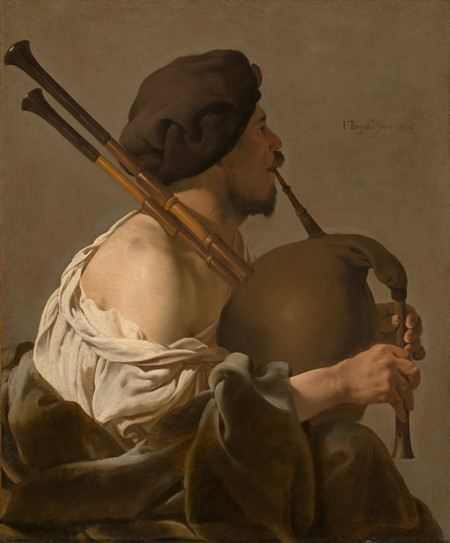 Painting of a man playing the bagpipes