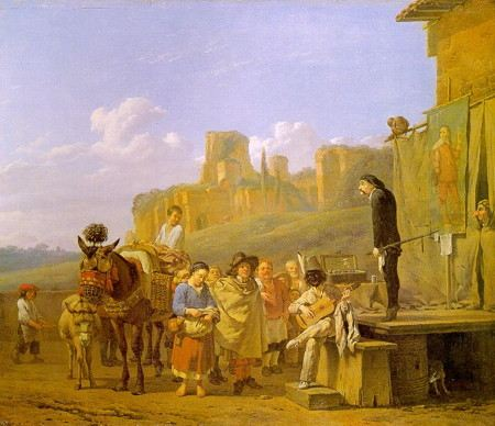 Painting of comic actors performing on a moveable stage before a rustic audience