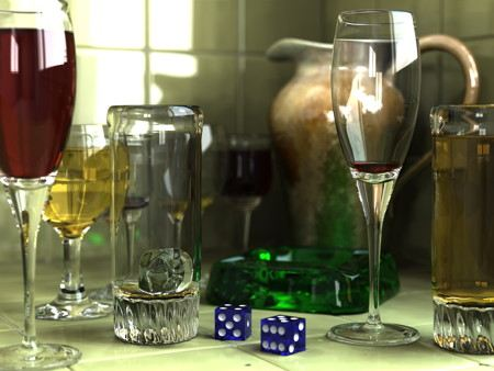 Computer generated image of glasses and a pair of dice