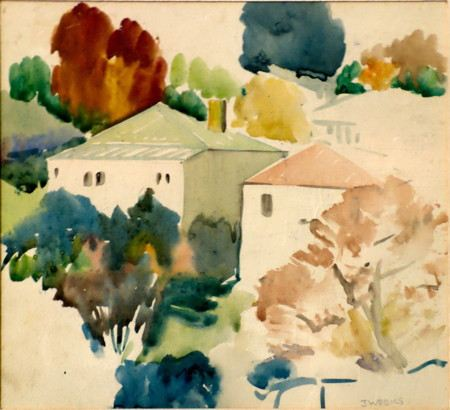 Painting of buildings surrounded by trees