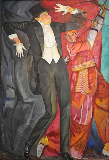 Painting of a man in a tuxedo gesticulating next to a man in an Asian costume shooting an arrow into the sky