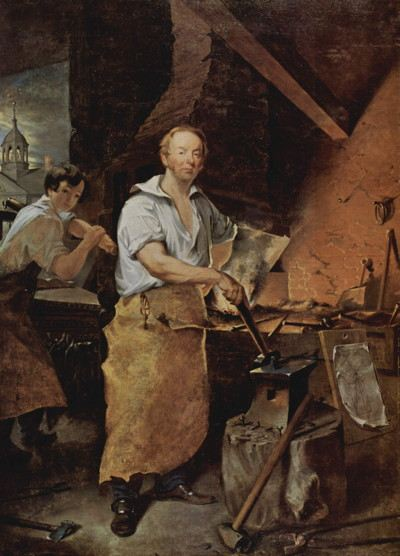 Painting of blacksmith posing in front of his forge