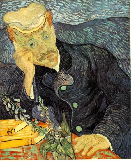 Painting of a man contemplating at a table with flowers