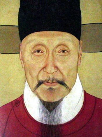 Painting of an Asian man with mustache and goatee