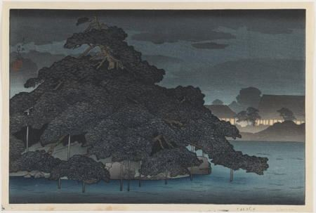 Japanese woodblock of a landscape with trees on the banks of a river