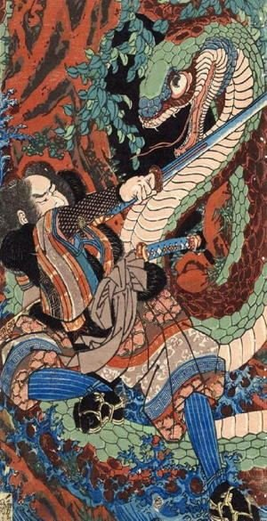 Japanese woodblock of a man fighting a huge snake
