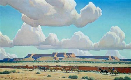 Painting of cattle crossing a Southwestern United States landscape