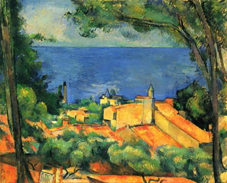 Landscape painting of a house overlooking the sea