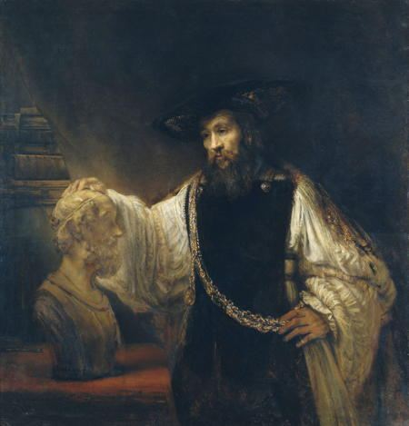 Painting of a man admiring a bust
