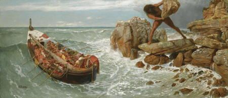 Painting of a one eyed gian pursuing men in a boat tryng to escape as the giant gets ready to throw a massive boulder