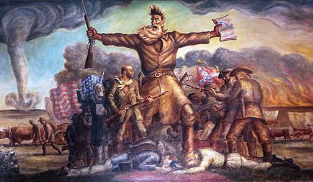Painting of man leading an army with a rifle in one hand and a bible in the other