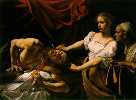 Woman with sword, watched by a servant, beheading a man