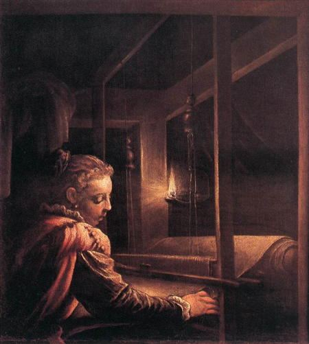 Painting of woman weaving at a loom by candle light