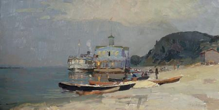 Painting with boats on a sandy beach with ship and a customs house in the background