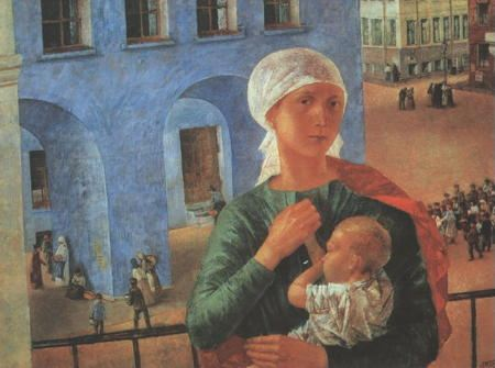 Painting of a woman holding a child against a Russian cityscape