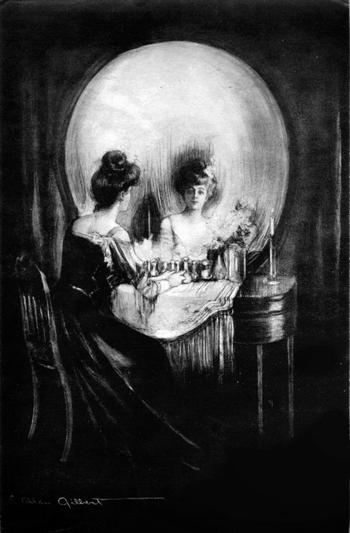 A woman sitting at a vanity table that looks like a skull if looked at differently