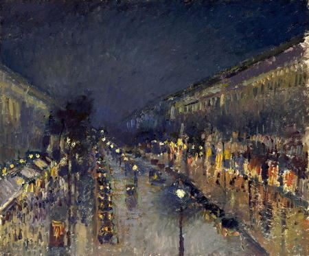 Painting of a Paris street in the rain at night