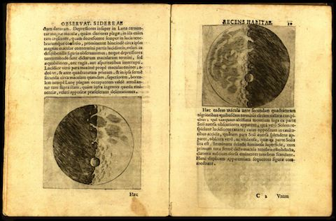 Galileo's drawing of the moon surrounded by text