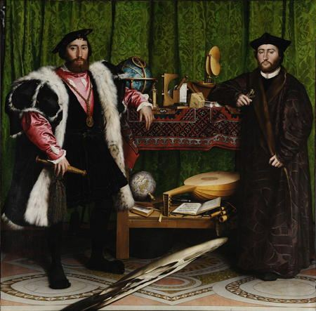 Painting of two ambassadors, the image at their feet is a disguised skull