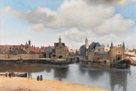 Painting of the harbor area of Delft