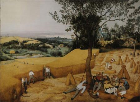 Landscape painting of harvesters harvesting a field