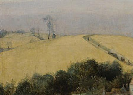 Detail from previous of a road in the distance with people on the road