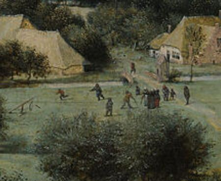 "Second detail from ""The Harvesters"" of people playing field hockey"
