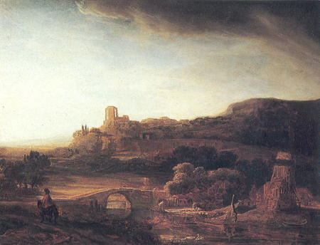 Painting of bridge with buildings in the background