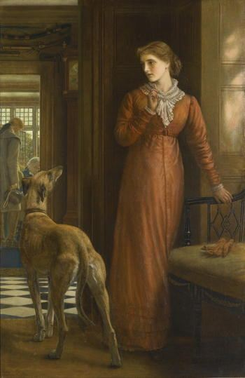 Painting of a woman with a quizzical look on her face being atched by her dog