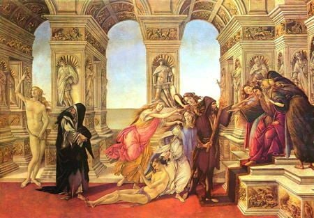Painting of a court from the classical age of a person being accused before a court