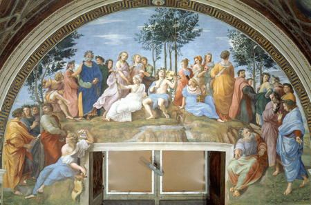 Fresco of a crowd of people gathered on Mount Parnassus