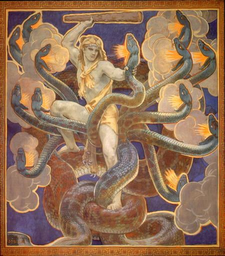 Painting of a man fighting many serpents
