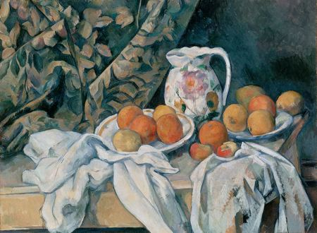 Painting of fruit in bowls and on a table with napkins and a flower print drapery