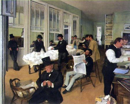 Painting of men sitting around reading newspapers and inspecting cotton