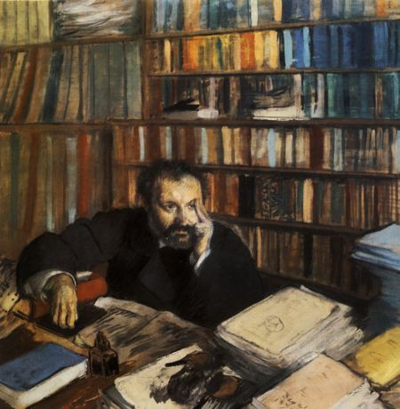 Painting of a man in a library deep in thought surrounded by books on the table in front of him