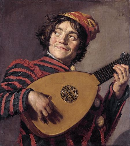 Painting of a man with a mischievious look playing the lute