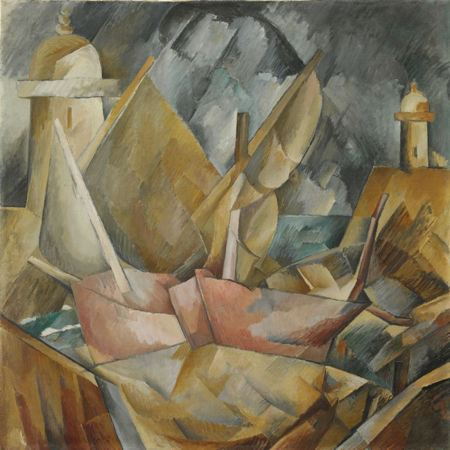 Abstract painting of a harbor with boats