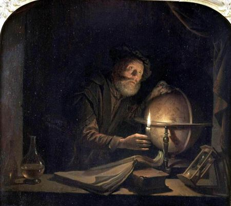 Painting of a Man studying the globe by canlelight