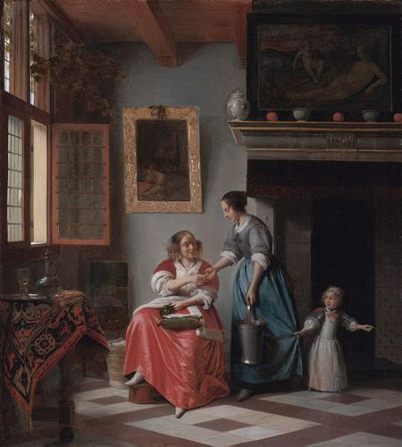 Painting of a woman giving money to a servant while a child tugs at the servant's dress