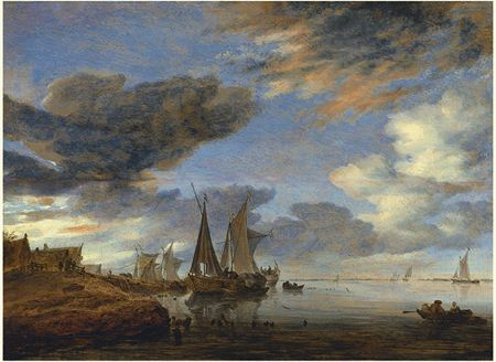 Sailing ships and boats near the shore by a village