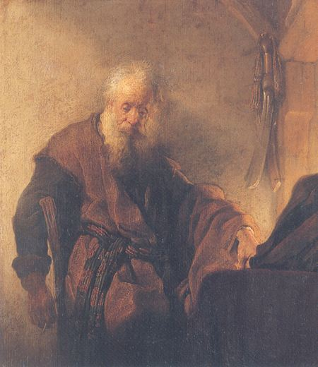 Painting of an old man sitting at his desk contemplatively